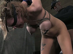 White buxom blond Rain DeGrey acquires brutally unfathomable throated by dark stud