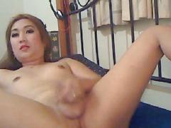 Chinita Ladyboy Masturbating on Web Camera