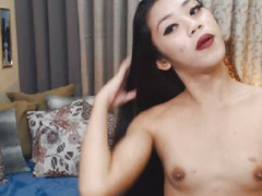 Slim T-Girl Plays her Rod on Web Camera