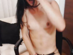 Shemale Playgirl Wildly Strokes Her Weenie