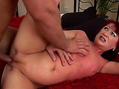 Aged redhead gal Esmeralda is engulfing penis