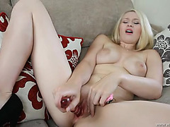 Indecent talk and sex tool fucking with a British golden-haired