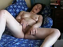 Astonishing black haired pallid playgirl with large love melons masturbated her cunt