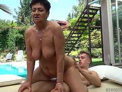 twenty one Sextreme:fearsome short-haired granny goes for aged cum-hole stuffing by the pool threatening-menacing PornDoe