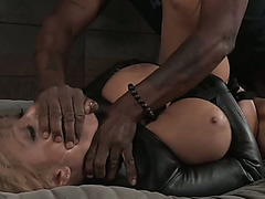 Breathtaking and curvaceous blond chick with large bumpers gangbanged on the obscene couch