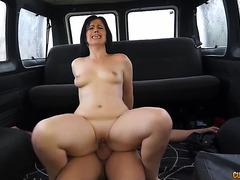 Montse Swinger rides knob in a car menacing-fearsome PornDoe
