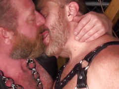 Leather fetish bears ass fucking and cocksucking