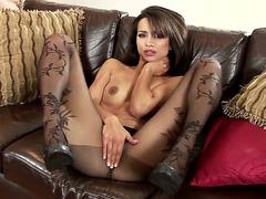 Glam dark brown Chelsea French in revealing darksome hose
