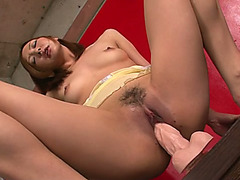 Shy japanese doll with red hair is riding on sex toy at Japanese Harlots
