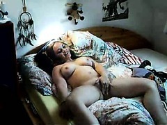 Amateur couple has some fun in front of the webcam