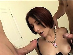 Submissive brunette in lingerie ganbanged - 1