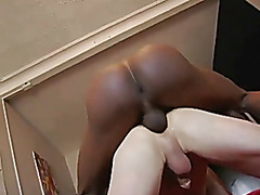 Darksome lad sucked and barebacks white lad fills arse with cum
