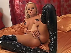 Golden-Haired mother i'd like to fuck Silvia Saint in hot latex petticoat and darksome boots