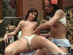 Twin lesbo sex 1st time Cutting wood and licking twat