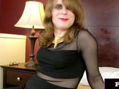 Perverted dilettante ladyboy jerksoff and fingers wazoo