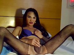 Trans pinay wanking her dick in rippedtights