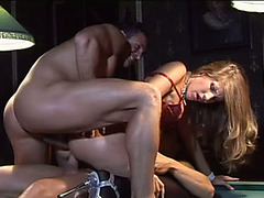 Irresistible golden-haired floozy Tera Bond menacing nailed in group sex