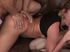 Bootyful blond Carter Cruise takes part in Male+Male+Female trio