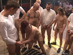 Redhead wench acquires fuckin'menacing team-fucked by a group of fuckers!