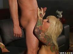 Porn chick Janine Lindemulder feeds her throat with her lover's hawt shlong