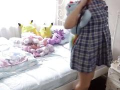 Curvy schoolgirl with hirsute fur pie masturbates