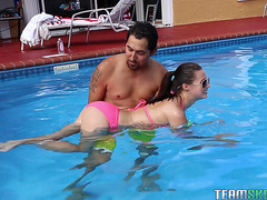 Carolina Sweets Widens Her Legs Next To The Pool And Gets A Pecker