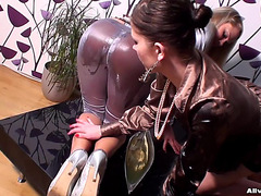 Lesbo Golden-Haired And Dark Brown Dressed And Having Slippery Enjoyment