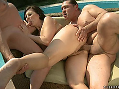 Black-Haired Granny Margo T.menacing Receives Screwed By 2 Lads Outdoors