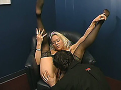 Cheeky blond angel in nylons gives skillful blow job