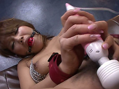 Concupiscent Oriental sex doll with ball gag Akiho Nishimura had sexy sex with her freak