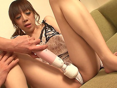 Slutty Oriental hottie Mai Serizawa receives her cookie toyed with a sex toy