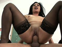 Hawt Oriental in darksome stockings receives pounded on the desk and goes sideways