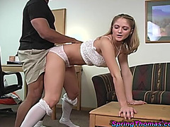 Fabulous Spring Thomas Acquires Screwed From Behind By A Dark Stud