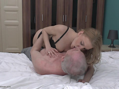 Miniskirt And Nylons Hotty Has Great Sex With A Senior Citizen