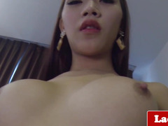 Glamorous breasty lady-boy solo rubbing her dick