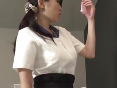 Yui Satonaka enjoys sextoy over her bawdy cleft and butt