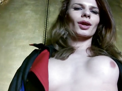 Solo russian trans jerking her hard 10-Pounder