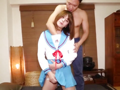 Cosplay t-girl engulfing knob previous to analsex