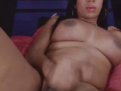 Swarthy Transsexual Tugs on her Hard Ramrod