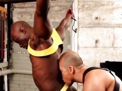 Restrained ebon hunk spanked and fucked into ass