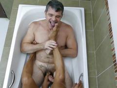 filipino, mature, jerking, versatile, bathtub, blowjob, feet