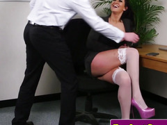 Breasty office brit throating dick until facial