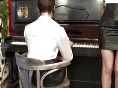 Spruce lesbo honeys fuckfest with piano teacher