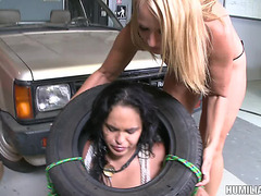 Mechanic Pleasant S&M Fetish Moist Cowgirl Hardcore In Garage