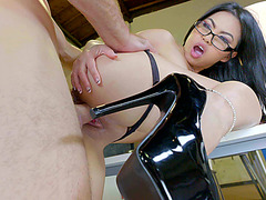 Cindy Starfall in hot dark high heels acquires drilled in the office