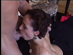 Wicked dark brown hair with big cans gets screwed in front of her hubby