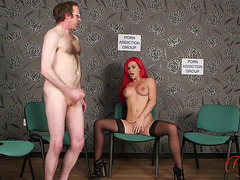 Redhead playgirl disrobes undressed for showing her large bra buddies and hairless snatch fearsome-menacing PornDoe