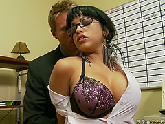 Breasty Dark Brown Secretary Getting Gangbanged By Her Boss In The Office