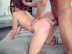 Johnny gives Maddy O'Reilly an anal doggy position pounding