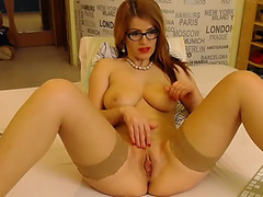 Red-haired angel Azura shows large mambos and arse / Webcamvideo fearsome-menacing free clip from popular adult web camera